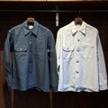 "Anachronorm ""Nep Chambray Open Collar Shirt"""