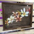 【世界に1つだけの原画】YUKI BOARD WORKSさんのチョークアート原画・プルメリア (天然木製キャンバス画・ハンドクラフトの額装作品)