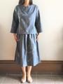 *SALE*着物リメイク・グレー三つ葉織ブラウス&スカート(M~L)ポケット付