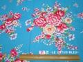 台湾花布 牡丹0901 スカイブルー