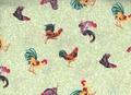 鶏図柄のプリントコットン<グリーン>