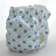 サイドスナップ(パンツ型)布おむつカバー(フラワータイル 青)