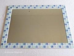 T様オーダー品 ガラスモザイクタイルの大型ミラー Blue Mix