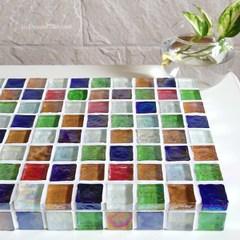 S様オーダー品【サイズ変更】ガラスモザイクタイルのディスプレイトレイ(小物置き)カラフルMix