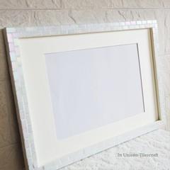 O様オーダー品 ガラスモザイクタイルのポスターフレーム パールホワイト