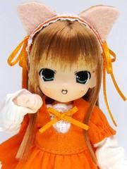 ちょこちょこみみる(薄茶髪)ねこワンピ オレンジ