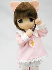 ちょこちょこなぁな(茶髪)ねこみみロリータ ピンク服