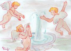 ぽわぽわ天使、噴水にたわむれる*水彩画原画