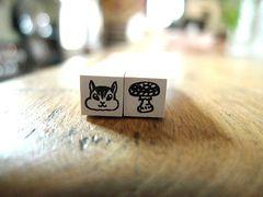 shima*shima 手帳用ミニはんこ(リス、きのこ)