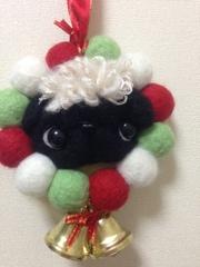 パグのクリスマス羊毛リース(天然パーマ)