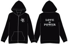 LOVE&POWERパーカー(黒×グレー)