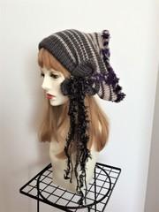 1510 ショート帽子ターバン:紫グレー