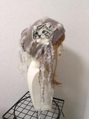 1354 猫タンのクタクタ夏用コットン帽子:アッシュピンク