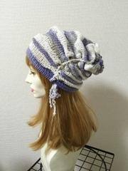 1352 引き上げクシュクシュ夏帽子★紫灰×白