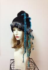 1185 帽子ターバン:黒青