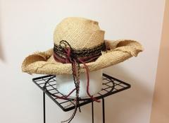 1099 夏の海賊帽子★三角帽 ラフィアハット