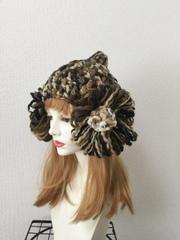 1305 お花の耳あて帽子