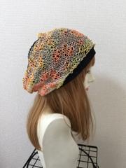 1340 クタゆるWターバン★真夏用!黒×オレンジウネ