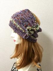 1320 Wターバン 紫×緑ラメツブ