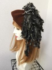 1413 裂き布ベレー帽:茶