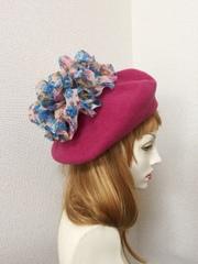 1404 フリルベレー帽:ピンク花