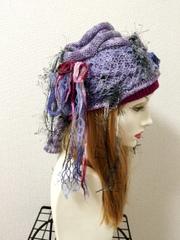 1326 布巻き帽子:紫★夏用!