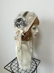 1323 猫タンのクタクタ夏用コットン帽子:灰