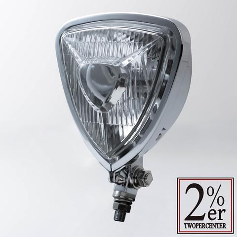 【Triangle Head Light Chrome】トライアングル ヘッドライト 汎用【チョッパー】カフェレーサー【ボバー】