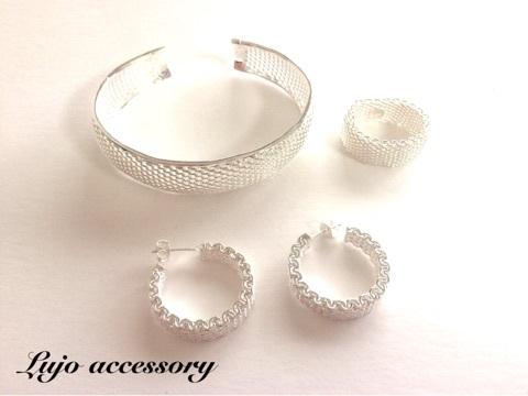 3点set☆shilver925製Mesh Bangle/pierce/ring.