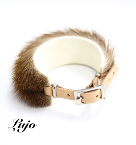 Real fur leather belt Br.