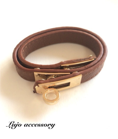 Gold backle 2LineWrap Leather Br.(Br)