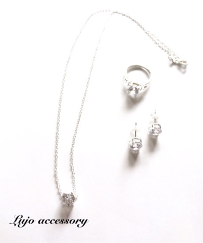 3点set☆shilver925製 一粒ジルコニア NC/pierce/ring