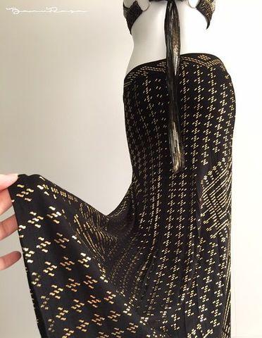 Faux Assuit Cleopatra Skirt Bk/Gd