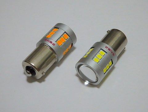 S25/BA15S(180°ピン/シングル)Epistar 2835 LED/橙アンバー