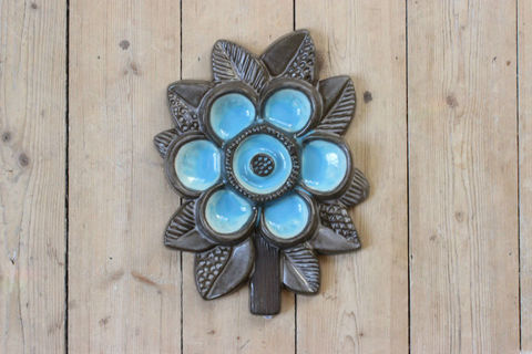 Upsala Ekeby(ウプサラエクビー)水色のお花の陶板