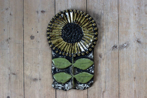 Lisa Larson(リサラーソン)/Vaggplattor  Solros ひまわりの陶板