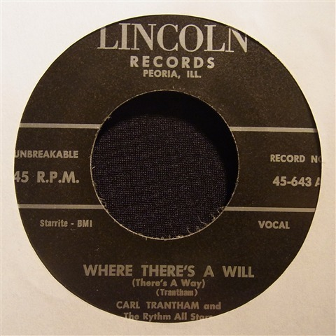 """CARL TRANTHAM / WHERE THERE'S A WILL (7"""")"""