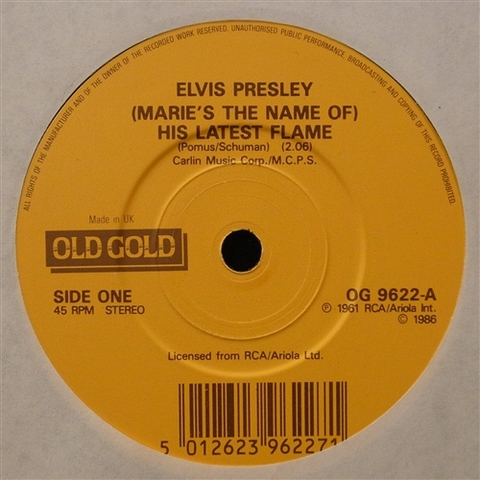"""ELVIS PRESLEY / (MARIE'S THE NAME OF) HIS LATEST FLAME (7"""")"""