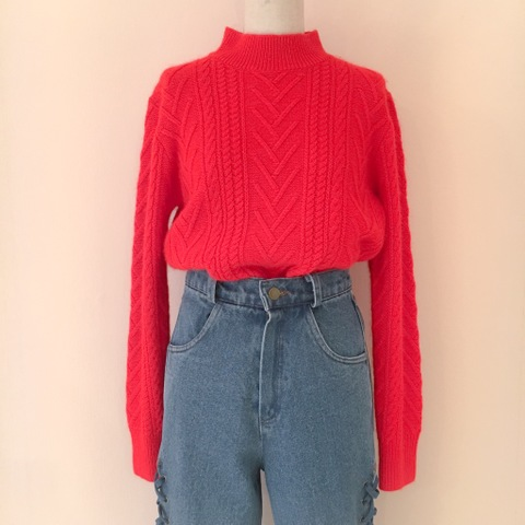 Fluffy Red Knit