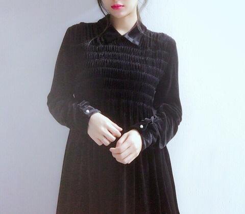 Shirring Velvet Dress