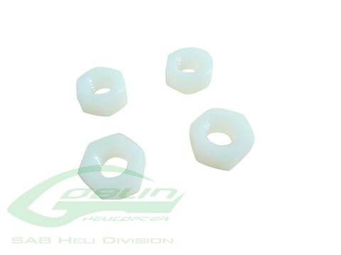 HC224-S - SAB M8 H6.5 Nylon Hex Nuts (4pcs)- Goblin 500/630/700/770
