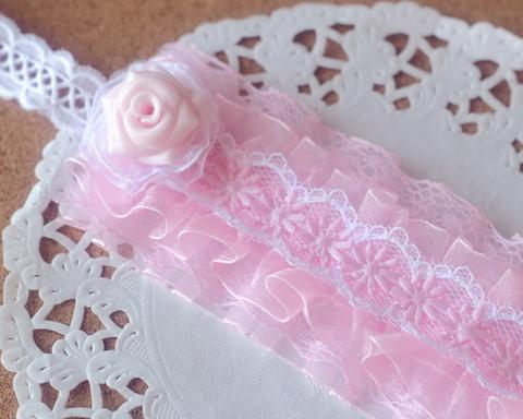 ドール用ローズヘッドドレス(薄ピンク×ピンク)