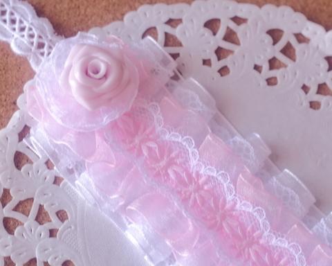 ドール用ローズヘッドドレス(ラベンダー×白)