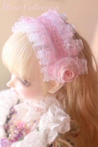 ドール用ローズヘッドドレス(薄ピンク×白)