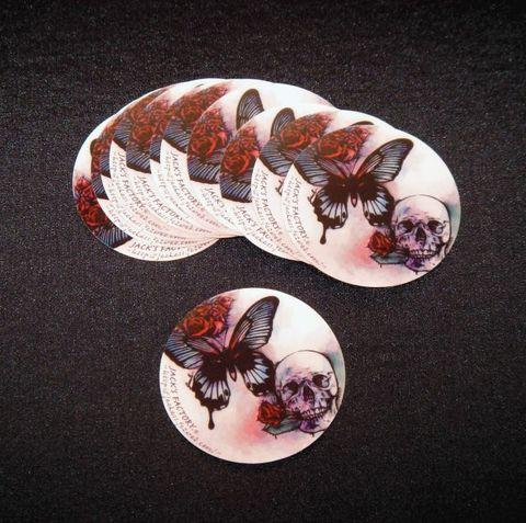 蝶と髑髏ステッカー