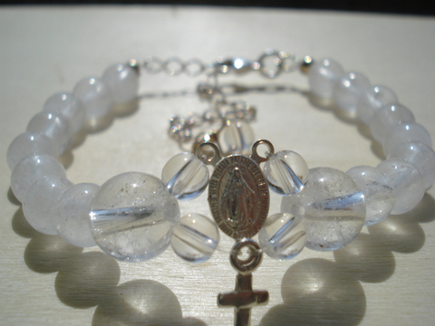 ヒマラヤ水晶と不思議のメダイのロザリオ風ブレス