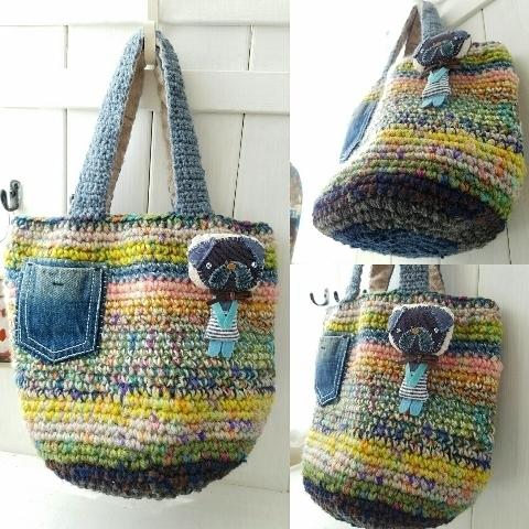 カラフルかぎ編みパグブローチ&ミニポケット付お散歩バッグ