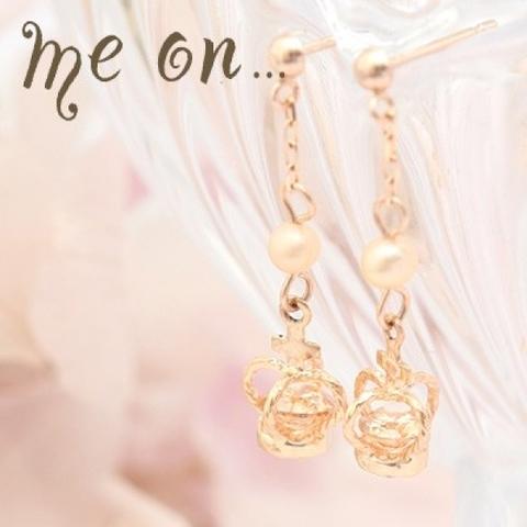真珠と十字架の王冠K10ピンクゴールパールのクロスクラウン・ドロップ式ピアス
