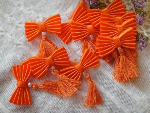 プリーツリボン・ミニミニタッセル(トリッドオレンジ)