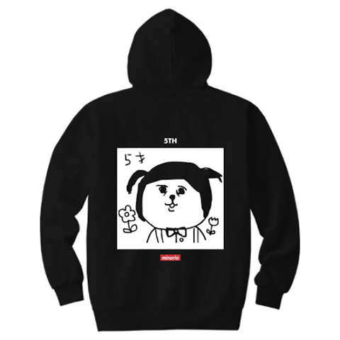 "minario / たまおさん""5才"" Hooded Sweatshirt Black"